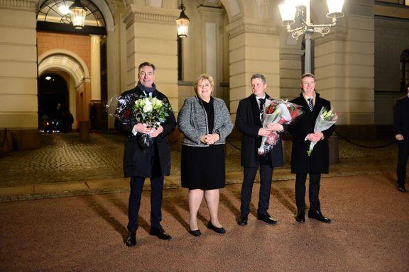 Erna Solberg presenterte tre nye statsråder på Slottsplassen