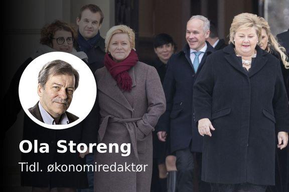 Regjeringen Solberg vil få det vondt. Den må drive dobbelt bokføring for å holde på velgerne.
