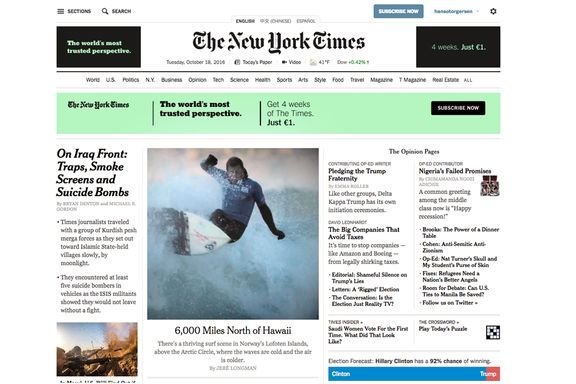 Surfing i Lofoten på forsiden av New York Times