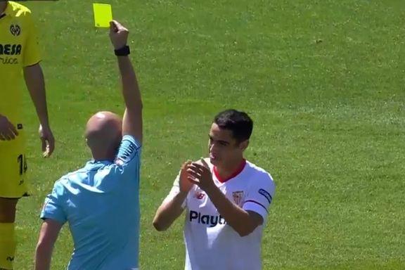 Her får han sitt andre gule kort – på tre sekunder
