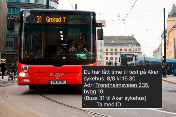 Oslo kommune gir dem som skal testes for korona, råd om hvilken buss de kan ta. Det strider mot reglene.