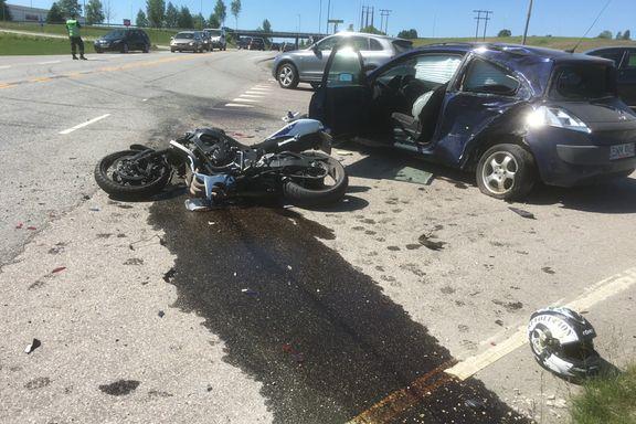 Like mange MC-førere som bilførere dør i trafikken om sommeren. For Jens-Petter Halden gikk det nesten galt.