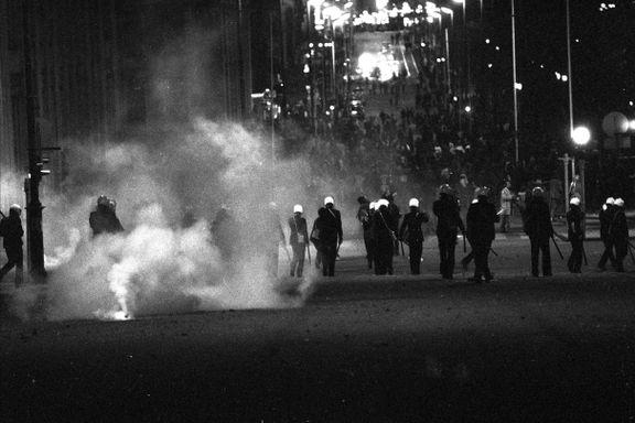 Da tåregassen hang over Oslo sentrum natt til 1. mai