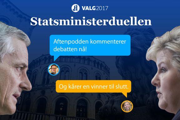 Trine Eilertsen og Aftenpoddens dom er klar: Knepen seier til Jonas Gahr Støre mot Erna Solberg i statsministerduellen