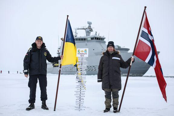 Her er første norske fartøy på Nordpolen