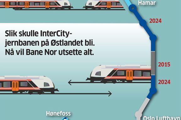 Bane Nor vil utsette InterCity utbygging med flere år – stikk i strid med Stortingets vedtak