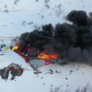 Brann i tunnelrigg i Porsanger i Finnmark
