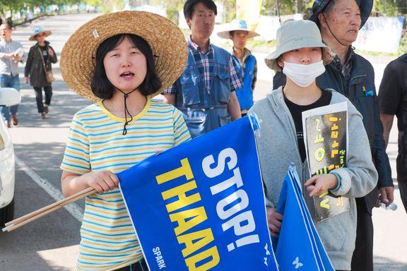 Sinte protester mot USAs rakettforsvar i Sør-Korea