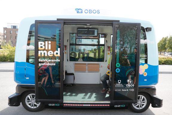 Selvkjørende buss testes på Fornebu