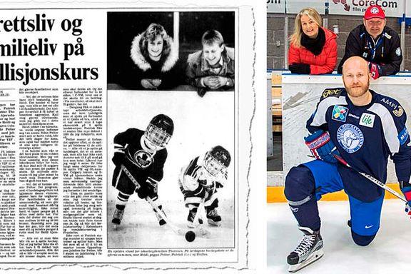 Det er 30 år mellom de to bildene. I mellomtiden har familien Thoresen fargelagt norsk ishockey.