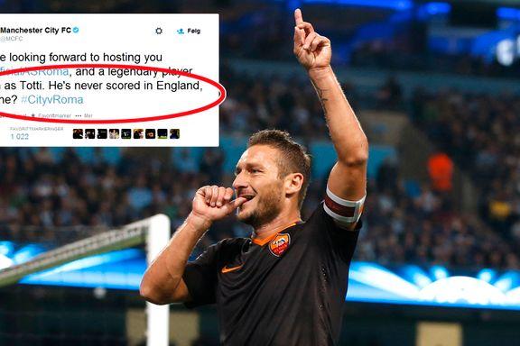 Slik svarte Totti på Citys frekkistweet