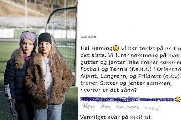 Sine og Hedevig (10) sendte brev til klubben: – Hvorfor trener ikke gutter og jenter sammen?