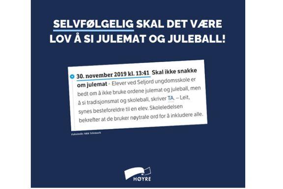 Høyre skapte bråk med Facebook-post om jul. Nå tar de selvkritikk.