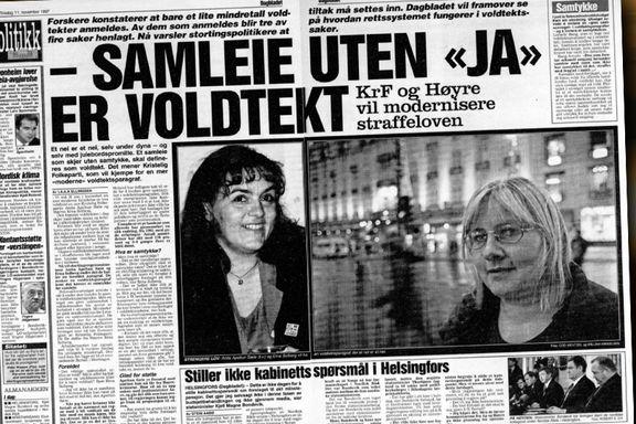 1997: Erna Solberg vil ha samtykke-lov. 2017: Høyre sier nei.