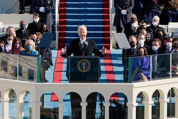 Nå er Joe Biden president: – De siste månedene og ukene har fortalt oss: Det er løgner, og det er sannhet.