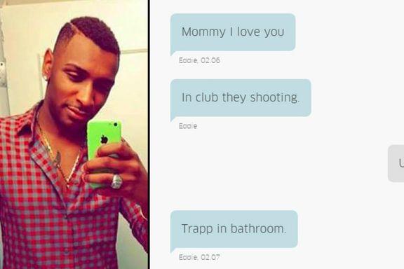 Sønnen sendte meldinger til moren da han gjemte seg for gjerningsmannen i Orlando: «Jeg kommer til å dø»