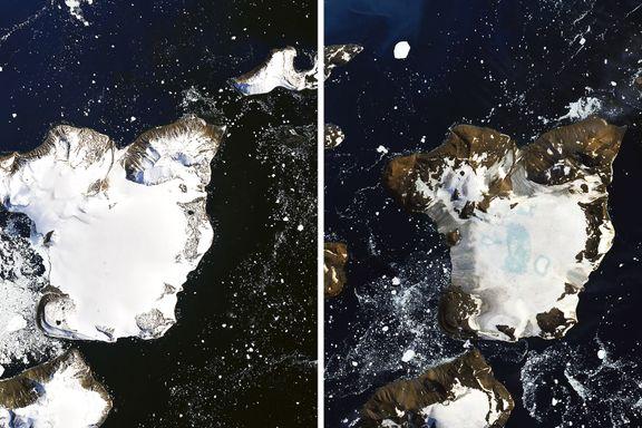 Så mye smeltet på én uke under hetebølgen i Antarktis nå i februar