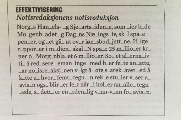 Morgenbladet-ansatte med sarkastisk protest i dagens avis