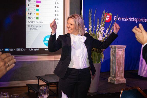 Dårligste valg siden 1993. Listhaug skylder på Venstre og KrF.