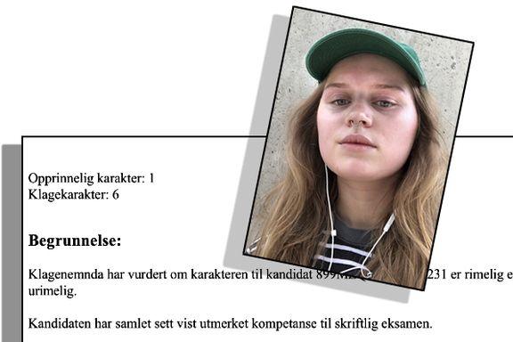 Marie (19) strøk på eksamen, klaget og fikk 6