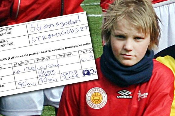 Her er Martin Ødegaards treningsnotater som 13-åring.