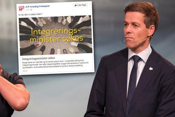 KrF lyser ut jobben som integreringsminister