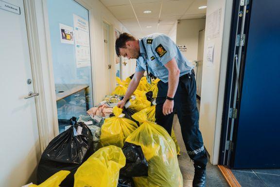 Tre tatt for omfattende butikktyverier: – Fant 37 søppelsekker med antatt tyvegods
