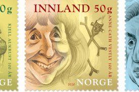 Anne-Cath Vestly, Kjell Aukrust og Jens Bjørneboe hedres på nye frimerker
