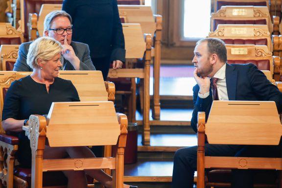 Siv Jensen sykmeldt. Solberg må forsvare budsjettet selv.