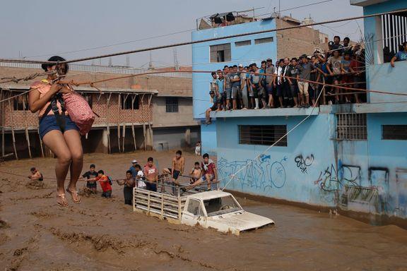 Flere hundre isolert av flom i Lima