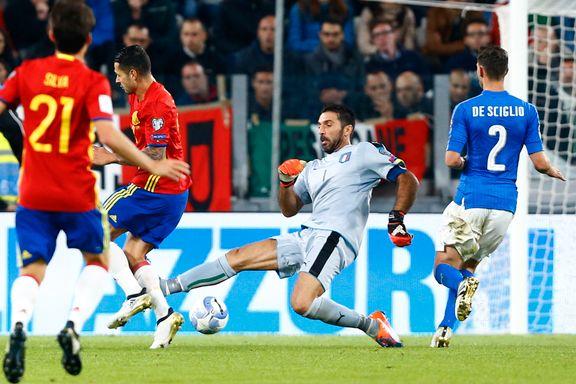 Kjempetabbe av Buffon da Italia spilte uavgjort mot Spania