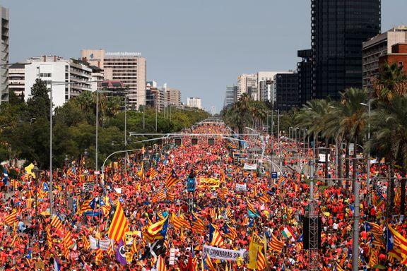 Rundt én million demonstranter i Barcelonas gater