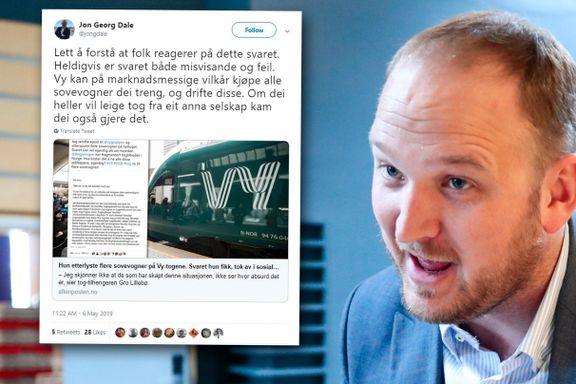 Samferdselsministeren refser Vy for svaret om sovevogner på nattog
