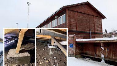 Garderobebygget på Slåtthaug står i fare for å kollapse