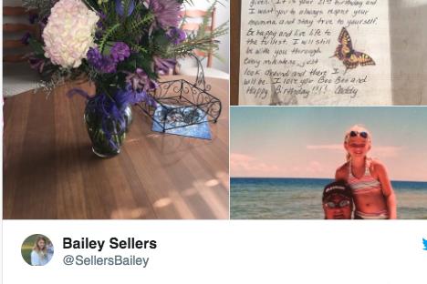Bailey fikk blomster og bursdagshilsen fra faren -  fem år etter at han døde