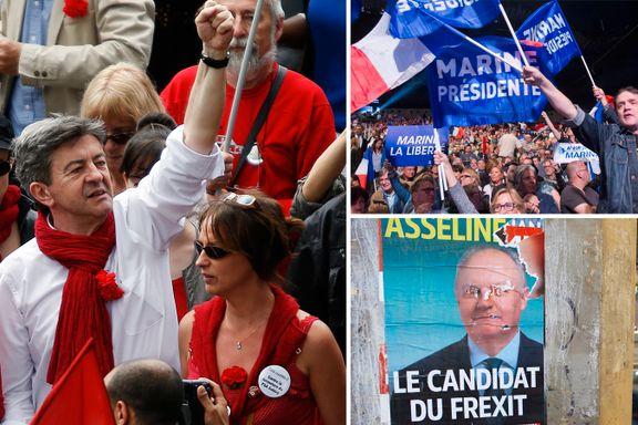 Kommunister, høyrepopulister, EU-motstandere. Det radikale Frankrike er på vei mot rekordresultat.