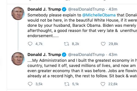 Trump slo tilbake mot Michelle Obama. Men kan du se hva som skiller tweeten fra de andre?