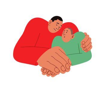 Pappaen synes det er unaturlig å prate om følelser når sønnen strever. Hedvig Montgomery gir ham en klar instruks.