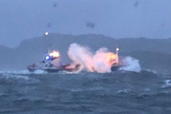 Fire reddet fra forlist fraktebåt da «Knud» slo til