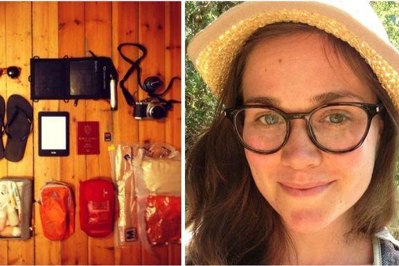 Christine (28) pakket kun dette for en tre ukers reise