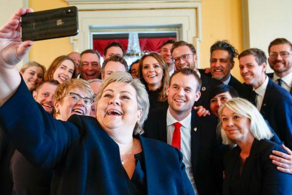 Erna Solberg presenterte sin nye regjering. Takket Hauglie for innsatsen og lover å rydde i Nav-skandalen.