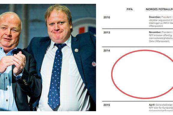 Gapende hull viser hva NFF gjorde da Qatar fikk VM. – Helt feil, sier NFF-topp.