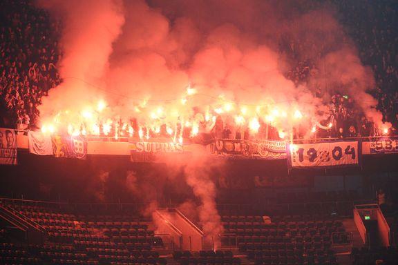 Fotballsupportere evakuert etter brannalarm