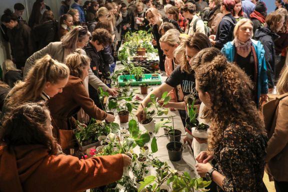Her står folk i kø for å bytte grønne planter