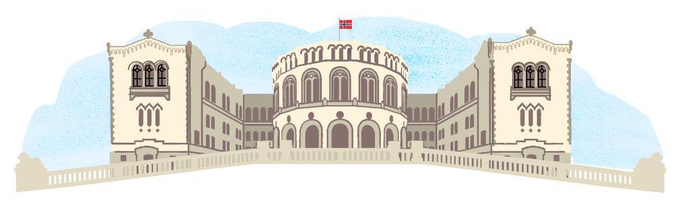 Stortinget i Oslo med det norske flagget heist på toppen.