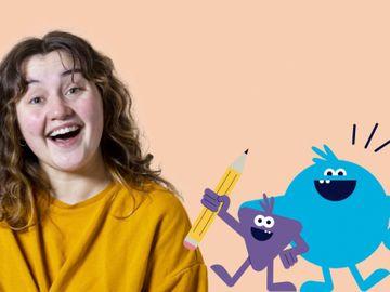 En jente med brunt hår og oransje genser peker opp på en tekst der det står «Hvem får bestemme i Norge?»