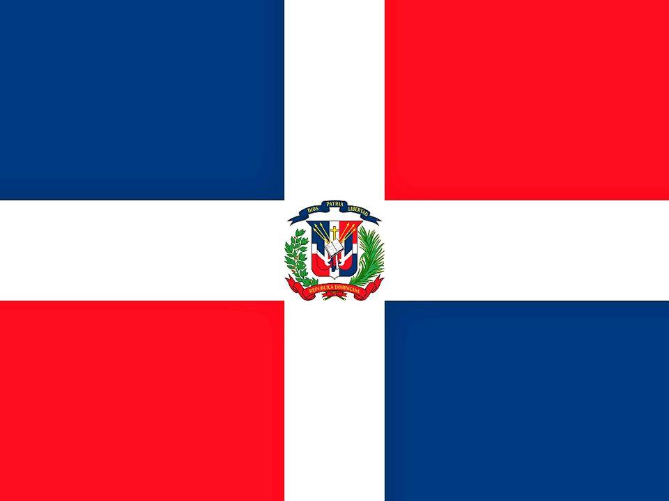 Et flagg med blå rektangler oppe til venstre og nede til høyre, hvitt kors med emblem i midten og røde rektangler oppe til høyre og nede til venstre.