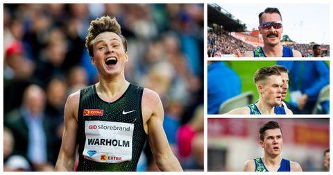 Karsten Warholm, Henrik, Filip og Jakob Ingebrigtsen under Bislett Games torsdag.