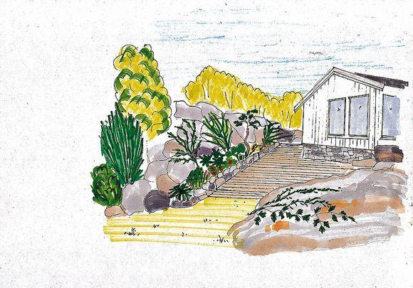 936e2f80 FORSLAG: Hagedesigner Guri Haavi har laget en tegning til Halvorsens  fremtidige hyttehage.