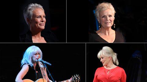 FLOTT MED GRÅTT: Jamie Lee Curtis, Judi Dench, Emmylou Harris og Linda Evans er blant de få kvinnelige kjendisene som har valgt å gå for grått hår. BILDEMONTASJE (Fotogrunnlag: Scanpix)